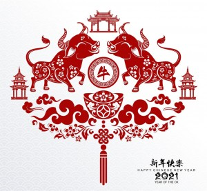 chinese-new-year-2021-red-oxen-design-vector